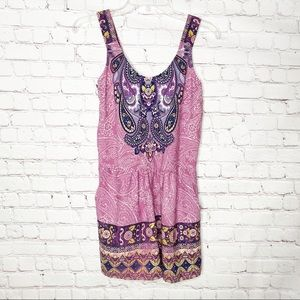 Xhilaration Pink Purple Boho Paisley Romper- NWT